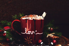Decoration with cup of hot chocolate, spices, and fir tree Royalty Free Stock Images