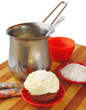Decoration cupcake cream and coconut shaving Stock Photo