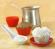 Decoration cupcake cream and coconut shaving Royalty Free Stock Photos