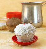 Decoration cupcake cream and coconut shaving Stock Images