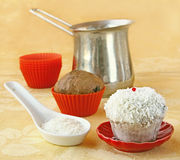 Decoration cupcake cream and coconut shaving Stock Image