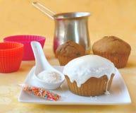 Decoration cupcake cream and coconut shaving Royalty Free Stock Image