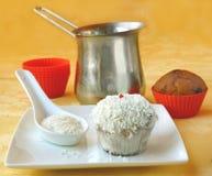 Decoration cupcake cream and coconut shaving Royalty Free Stock Photo