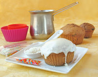 Decoration cupcake cream and coconut shaving Stock Photography