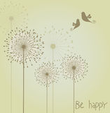 Decoration with dandelions and birds. Stock Image