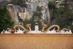 Decoration and sculpture and carving dragon roof of chinese shrine at Tiantan temple in Tian tan garden at Shantou or Swatow. Decoration design and sculpture and royalty free stock photo