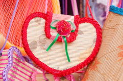 Handicrafts heart. The details of handicrafts hanging in the air Stock Image