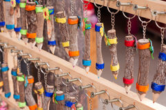 Colorful pencils. Hanging on the wood stock photography