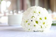 Decoration of dining table for wedding reception Royalty Free Stock Photography
