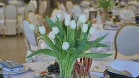 Decoration of the dining table for wedding. White tulip. Decoration of the dining table for wedding. White tulip stock video footage