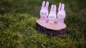 Decoration for Easter. Easter bunnyes. On the green grass stock footage