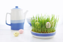 Decoration with the Easter eggs and fresh green grass Stock Photo