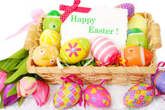 Decoration with easter painted eggs and greeting card Stock Images