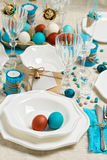 Decoration Easter table setting in blue tones. Royalty Free Stock Photos
