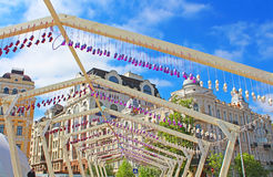 Decoration of eggs and ribbons in fan zone for international song competition Eurovision-2017 on Sofia square Stock Photo