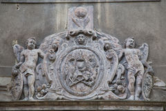 Decoration on a facade. Historic ornament on a house in center of town Kutna Hora, Czech republic Royalty Free Stock Photography