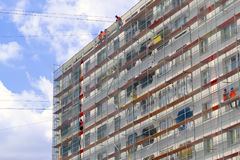 Decoration of the facade of a residential building for the world Cup 2018 in Kaliningrad Stock Photography