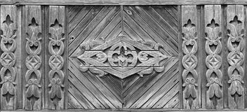 Decoration of the facade of Russian wooden house Stock Photo