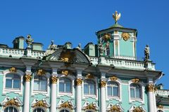 The decoration of facade of the Winter Palace, Saint Petersburg, Russia. The Winter Palace was the official residence of the Russian monarchs. Today, the stock image