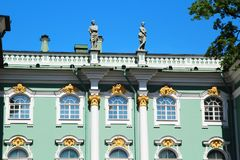 The decoration of facade of the Winter Palace, Saint Petersburg, Russia. The Winter Palace was the official residence of the Russian monarchs. Today, the royalty free stock images