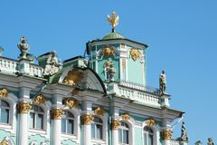 The decoration of facade of the Winter Palace, Saint Petersburg, Russia. The Winter Palace was the official residence of the Russian monarchs. Today, the royalty free stock photo