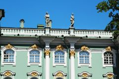 The decoration of facade of the Winter Palace, Saint Petersburg, Russia. The Winter Palace was the official residence of the Russian monarchs. Today, the stock photography