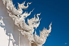 Decoration of famous white church, Thailand Royalty Free Stock Images