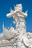 Decoration of famous white church, Thailand Stock Images