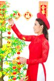 Decoration of festive tree Royalty Free Stock Photos