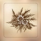 Decoration of fir branches with cones on a gift Royalty Free Stock Images