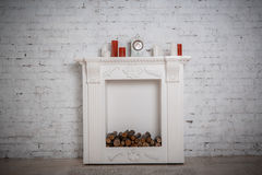 Decoration with fireplace Royalty Free Stock Image