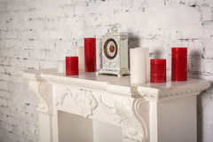 Decoration with fireplace Royalty Free Stock Photo