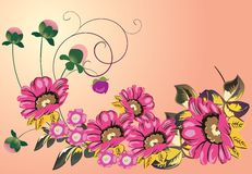 Decoration with five big pink flowers Royalty Free Stock Images