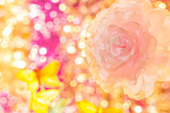 Decoration flower on background bokeh. Decoration flower on multicolored background bokeh royalty free stock photo