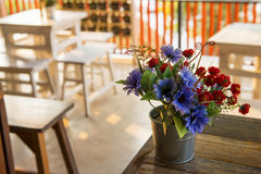 Decoration flower on the table in coffee shop ,Thailand Royalty Free Stock Photo