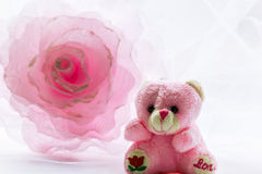 Decoration flower and teddy bear Stock Photography