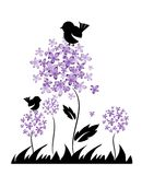 Decoration of flowers and birds Royalty Free Stock Images