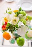 Decoration with flowers and fruit Stock Photography