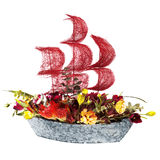 Decoration flowers ship with crimson sails Royalty Free Stock Photography
