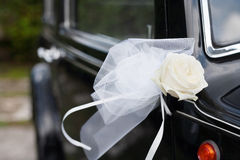 Decoration flowers for wedding car Stock Photos