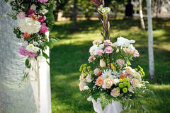 Decoration of flowers at a wedding ceremony Royalty Free Stock Photo