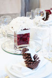 Decoration with flowers on wedding table Royalty Free Stock Images