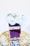 Decoration with flowers on wedding table Stock Photo