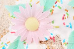 Decoration in the form of a flower on baking. Stock Image