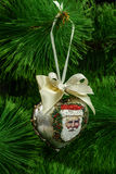 Decoration in form of pendants in the shape of heart for Christm Royalty Free Stock Images
