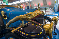 Decoration in the form of a snake`s head on the vintage car Delage B1 Tourer, 1915. Stock Images