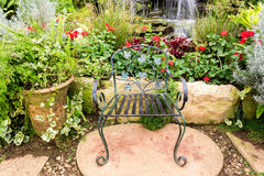 Decoration garden. With metal chair Stock Photo