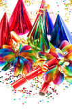 Decoration with garlands, streamer, cracker and confetti Royalty Free Stock Images
