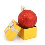 Decoration and gold box Royalty Free Stock Images