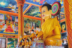 Decoration and Gold Buddha Statue in Buddhist temple stock images
